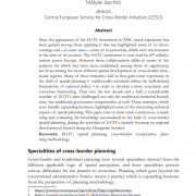 The role of the EGTC in cross-border spatial planning