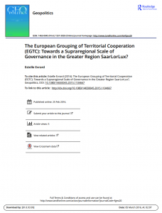 The European Grouping of Territorial Cooperation (EGTC): Towards a Supraregional Scale of Governance in the Greater Region SaarLorLux?