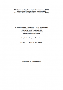 TOWARDS A NEW COMMUNITY LEGAL INSTRUMENT FACILITATING PUBLIC-LAW-BASED TRANSEUROPEAN COOPERATION AMONG TERRITORIAL AUTHORITIES IN THE EUROPEAN UNION