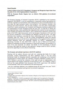 Critical Analysis of the EGTC Regulation's European and Hungarian Supervision from the point of view of the Implementation's Experiences. - Will the European Border Regions have an effective MLG-platform for territorial cooperation?