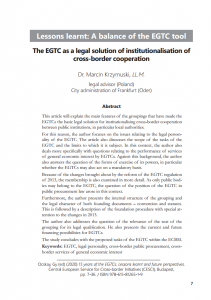 The EGTC as a legal solution of institutionalisation of cross-border cooperation