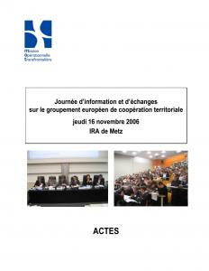 Journée d'information et d'échanges sur le groupement européen de coopération territoriale