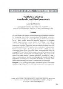 The EGTC as a tool for cross-border multi-level governance