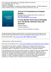 Is Cross-Border Governance Emerging over the Border between Italy and Slovenia?