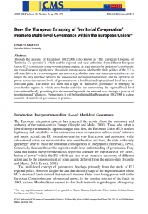 Does the 'European Grouping of Territorial Co-operation' Promote Multi-level Governance within the European Union?