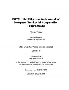 EGTC – the EU's new instrument of European Territorial Cooperation Programmes