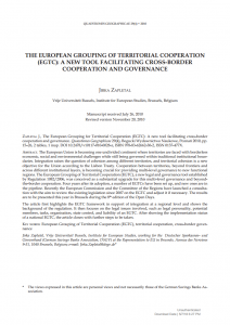 The European Grouping of Territorial Cooperation (EGTC): A New Tool Facilitating Cross-border Cooperation and Governance