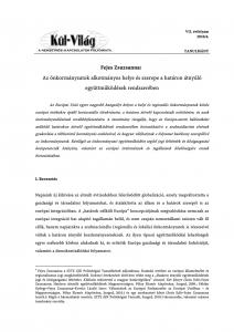 Az önkormányzatok alkotmányos helye és szerepe a határon átnyúló együttműködések rendszerében