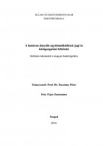 A határon átnyúló együttműködések jogi és közigazgatási feltételei - Különös tekintettel a magyar határrégiókra