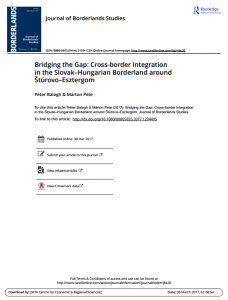 Bridging the Gap: Cross-border Integration in the Slovak–Hungarian Borderland around Štúrovo–Esztergom