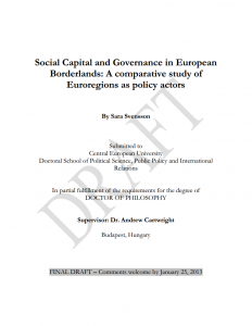Social Capital and Governance in European Borderlands: A comparative study of Euroregions as policy actors